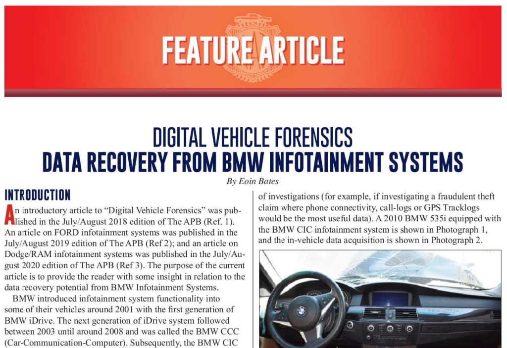 AB Forensics - Data Recovery Potential from BMW Infotainment Systems